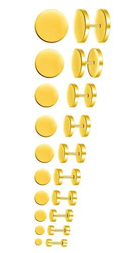 Feilok 10 Paar Edelstahl Herren Ohrstecker Creolen Tunnel Ohrringe für Damen Fakeplug Fake Plug Ohrringe Pierced Earrings Stud Earrings Set 3-14mm Gold