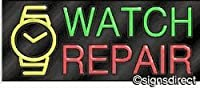 """Watch Repair"" Neon Sign w/Graphic, Frame Material=Clear Plex"