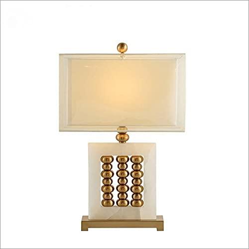 Lámpara de mesa Abacus Estilo retro chino para el dormitorio del hotel Sala de estar Decoración de la cabecera Tela tejida de doble capa Lámparas de escritorio de mármol de metal galvanizado Altura
