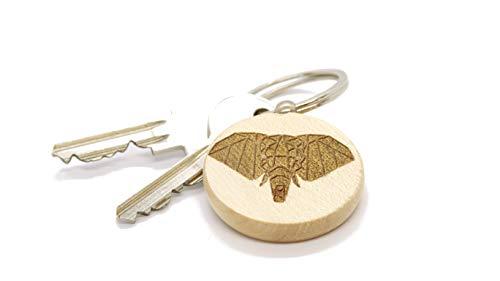 JaRo Elefant Schlüsselanhänger rund aus Holz Gravur, wahlweise personalisiert mit Namen und Datum, Unisex Accessoire Geschenkidee Glücksbringer Geschenk Weihnachten (mit Gravur)