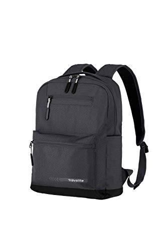 travelite Handgepäck Rucksack Größe M erfüllt IATA Bordgepäck Maß, Gepäck Serie KICK OFF: Praktischer Rucksack für Urlaub und Sport, 006917-04, 40 cm, 17 Liter, d'anthrazit (grau)