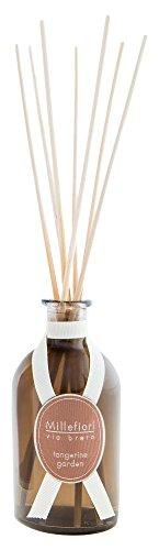 Millefiori 44MDTG Tangerine Garden Raumduft Diffuser 100 ml Via Brera inklusive hochwertiger Balsaholzstäbchen, Glas, Braun, 6.3 x 6.5 x 25.9 cm