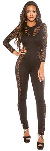 Elegante Langarm-Overalls in versch. modernen Styles, Jumpsuit Hosenanzug Business Büromode Abendmode Damen (OV19141 schwarz M 900956)