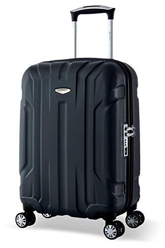 Eminent Koffer X-Tec S 55cm 40L Handgepäck Ultraleicht Hartschalenkoffer stabil mit 4 Rollen TSA Schloss Reisekoffer leicht Hartschale Trolleys klein Schwarz