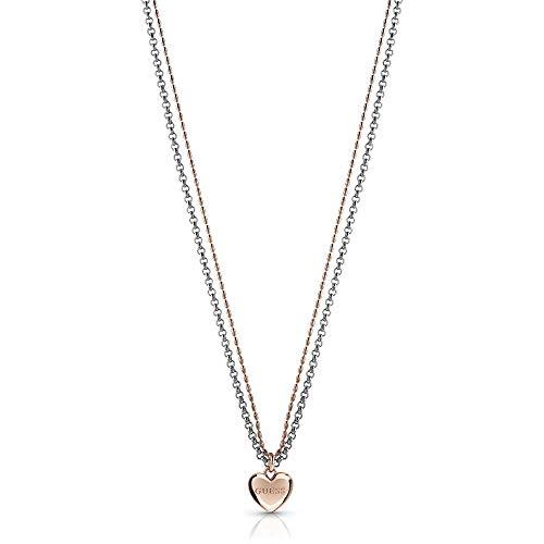 Guess Kette Herz für Damen aus Edelstahl, teilweise rosévergoldet