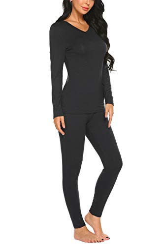 Ekouaer Women's Soft Thermal Winter V Neck Underwear Set Base Layering Top & Bottom Black