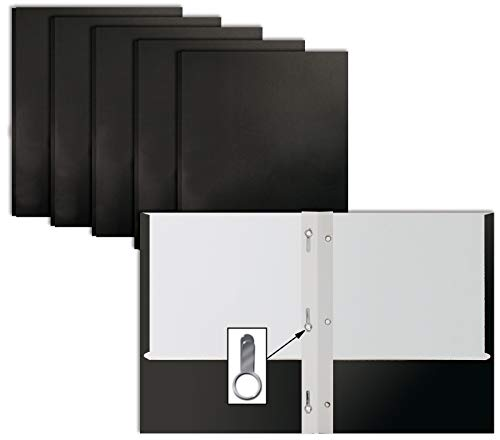 Black Paper 2 Pocket Folders with Prongs, 50 Pack, by Better Office Products, Matte Texture, Letter Size Paper Folders, 50 Pack, with 3 Metal Prong Fastener Clips, Black