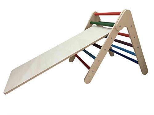 Pikler - Triángulo de escalera trepadora tobogán de madera para niños con rampa de colores para interior