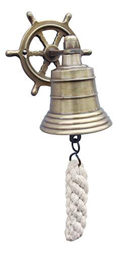 Glocke mit Steuerrad-Wandhalterung Messing antik - perfekt für die maritime Dekoration