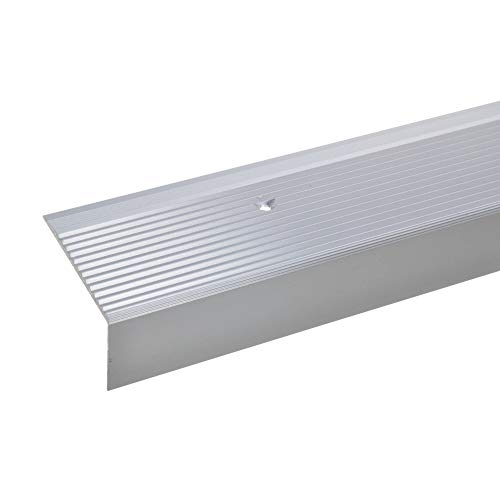acerto Aluminium Treppenwinkel-Profil - 28x50mm * Rutschhemmend * Robust * Leichte Montage | Treppenkanten-Profil Treppenstufen-Profil aus Alu (100 cm, silber)