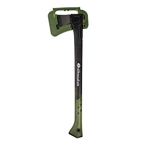 Ultranatura Hacha Universal para Cortar leños medianos y Ramas, Protector de Hoja Incluido, Largo Aprox. 71 cm, Negro/Verde