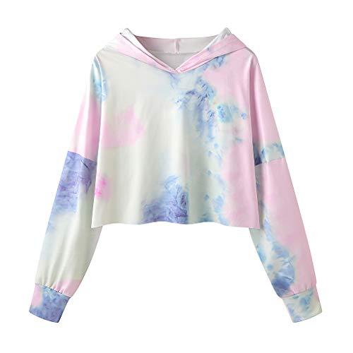 TAMALLU Frauen Lose Schöne Bluse Vintage Tops Langarm Bedruckte Crop Kapuzenpullover(Rosa,S)