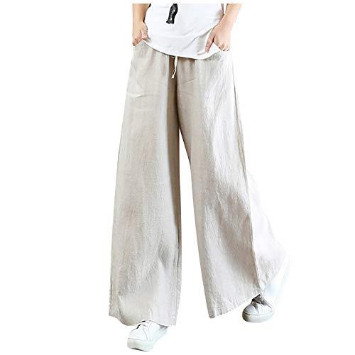 Kpasati Damen Baumwolle und Leinen Hose mit weitem Bein Lose Einfarbig Hose Mode Mutter Stil Jogginghose Freizeithose