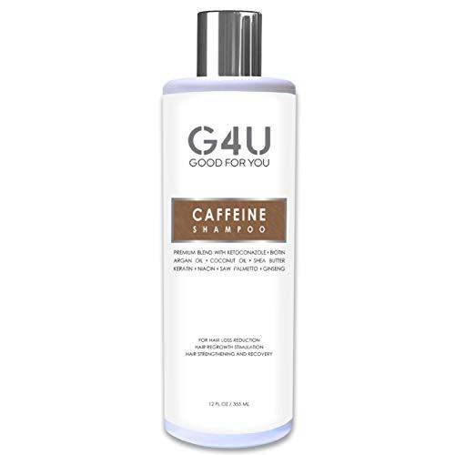 G4U Caffeine Shampoo for Hair Loss, Hair Growth and Thinning Hair. Natural Sulfate Free Treatment with DHT Blockers for Men and Women. Caffeine Biotin Keratin Saw Palmetto Niacin Argan Oil. 12 oz.