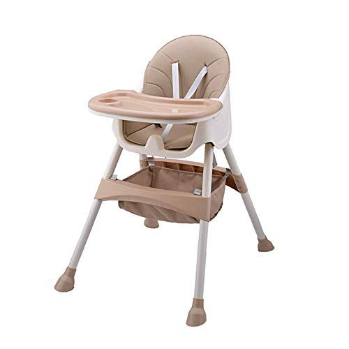 Mitwachsender Hochstuhl Baby, mit 5-Punkt-Sicherheitsgurte, Abnehmbares Tablett, höhenverstellbar, Einfach zu Montierender Hochstühle für Jungen und Mädchen (Khaki)