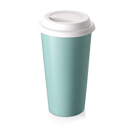 Ceramic Travel Coffee Mug, ZONESUM 14 OZ Double Wall Insulated Travel Coffee Tumbler Cup with Silicone Lid, Dishwasher & Microwave Safe, Reusable To-go Coffee Mug for Home and Office, Blue