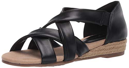 Easy Street womens Espadrille Wedge Sandal, Black, 7.5 Narrow US