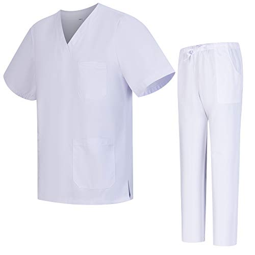 Workwear Tucano - Conjuntos Uniformes Sanitarios Unisex 100% Algodon - Uniformes MÉDICOS Casaca Y PANTALÓN Sanitarios Ref.9801-9802 - L, Blanco