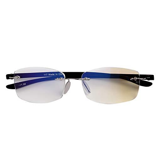 人気のふちなしタイプ フレームレスがお洒落な老眼鏡 スクエア ブルーライト35% カット[PrePiar](ブラック,+1.5)