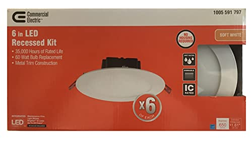 6 in. White Flush Round Wet Rated LED Integrated Recessed Lighting Kit (6-Pack)