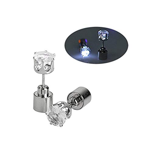 Christmas Earrings,IC ICLOVER 1 Pair LED Earrings Glow Light Up Ear Drop Pendant Stud Stainless,White