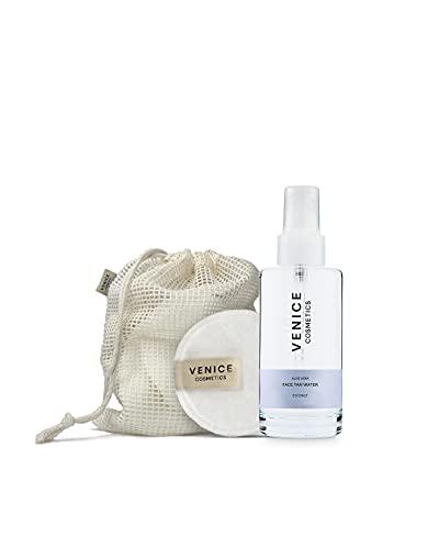Venice - Crema hidratante facial con base de agua con aloe vera, no grasa, hidrata y bronceado natural, almohadillas reutilizables