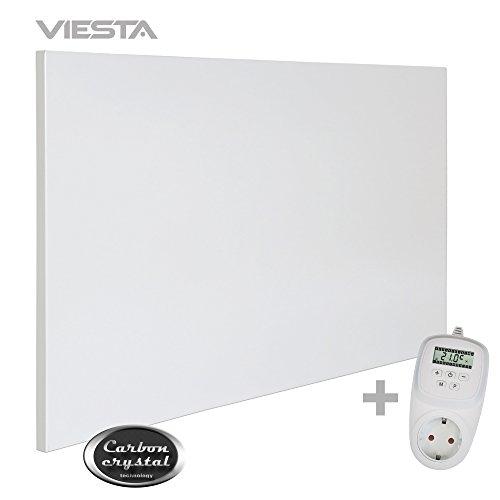 VIESTA H1200 Pannello ad infrarossi per Riscaldamento Carbon Crystal (Tecnologia più recente) Ultrasottile, panneli radianti Bianco - 1200 Watt Termostato TH12