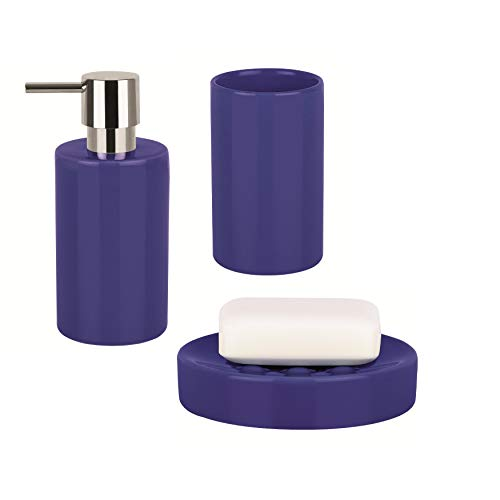 Unknown1 3-Piece Countertop Accessories Set Tube Navy Blue Stoneware Modern Contemporary Ceramic Multi-Size