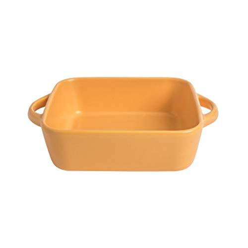 Fuente de porcelana para horno, parrilla de cerámica, plato sopero, plato de cerámica, con tapa, sartén para lasaña, cuenco para desayuno, cuenco de cerámica o molde (plato amarillo)