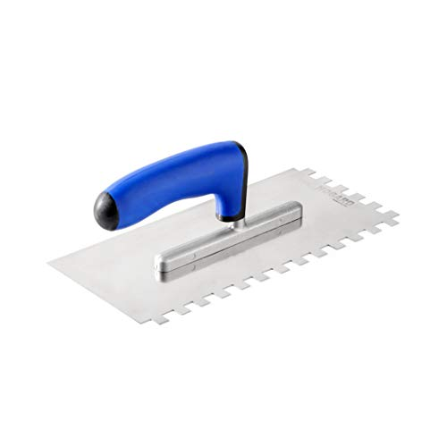 HOGARD Notched Tiling Trowel, Stainless Steel Toothed Smoothing Spreader Tool Made in EU, Square Notch 10x10 mm (0.4 inch)