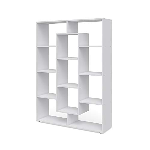 Vicco Raumteiler 11 Fächer Bücherregal Standregal Aktenregal Hochregal Aufbewahrung Regal (Weiß)