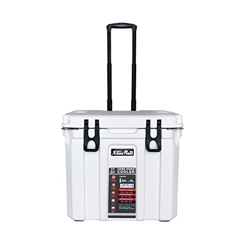 XtremepowerUS 37 Quart Insulated Portable Ice Chest Cooler Roto-Molded Bottle Opener Telescoping Handles & Wheels, White
