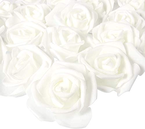 50er Schaumrosen Künstliche Blumen Rosenköpfe Rosenblüten Rosa Foamrosen zum Basteln Brautstrauß DIY Party Hause Hochzeit Deko (Weiß) (Weiss)