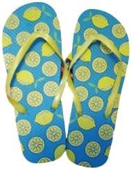 Flip Flops with Lemons Pattern, Beach, Pool, Summer Vacation, Medium 7/8