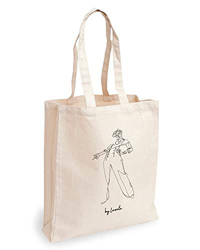 Loxato Borsa Shopper Donna - Tote Bag Tela - Shopper Borsa - Borsa Tela Donna - Borse di Cotone 35x42cm Extra Largo 8cm - Shopper in Tela - Borsa Canvas Harry Styles Danza Disegno a mano