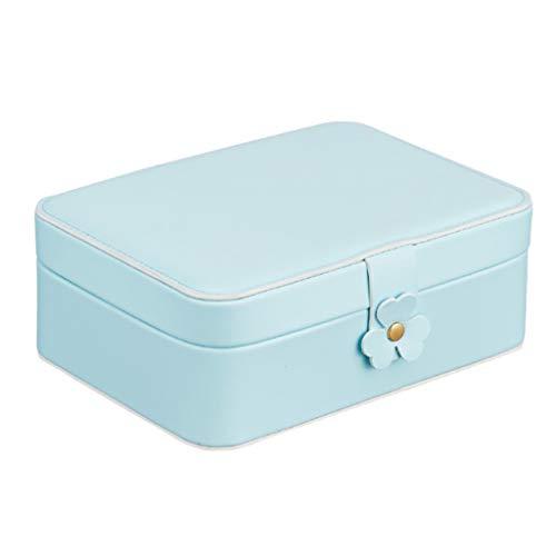 Sweet Caja Joyero Multi-Función, Organizador De Joyas Portátil Pequeña, Cuero De PU Mujer Joyero, Caja De Almacenaje para Almacenamiento Anillos, Pendientes, Pulseras Y Collares,Azul