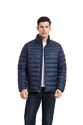 SLOW DOWN Men's Ultra Lightweight Packable Down Jackets Water Resistant Winter Puffer Coat (Dark Navy, L)