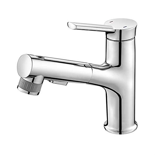 MCYAW Tire hacia Fuera el baño del Lavabo del Lavabo Faucet Rinser Pulverizador Gargle Cepillado 3 Modo Mezclador Toque Frío y Cuenca Caliente Grifo (Color : Chrome)