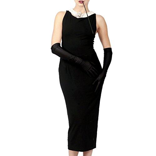 Utopiat ikonische baumwollschwarze Kleid Frau inspiriert von Audrey Hepburn Style (S)