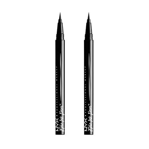 NYX Professional Makeup Delineador de ojos Epic Ink Liner, Punta de pincel, Resistente al agua, Fórmula vegana, Pack doble, Negro
