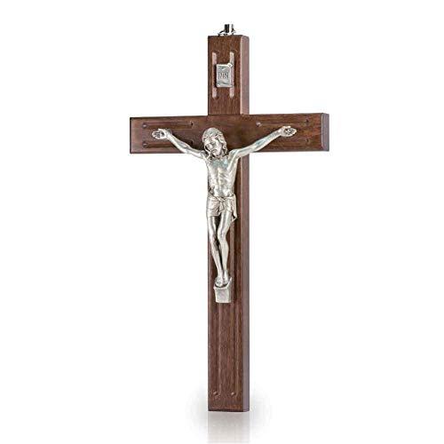 Wandkreuz Kruzifix modernes Design Holz braun Christus Körper Metall Silber 20 cm Holzkreuz Schmuckkreuz