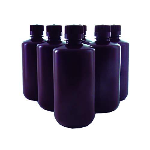 KENZIUM - Pack 6 x Frascos de HDPE con Tapa, Cuello Estrecho, de 1000 ml | Ámbar, Botellas Redondas Opacas, Boca Estrecha de Polipropileno, Para Laboratorio, Almacenamiento Muestras Sólidas y Líquidas