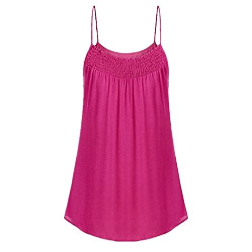 DOLAA Mujeres Casual Sexy Tops Túnica Suelta Plisada Camisola Camisas con Cuello en V Camisas de Mujer Botón para Arriba Casual Color sólido Camisetas sin Mangas de Verano Camisas Camisetas Casuales