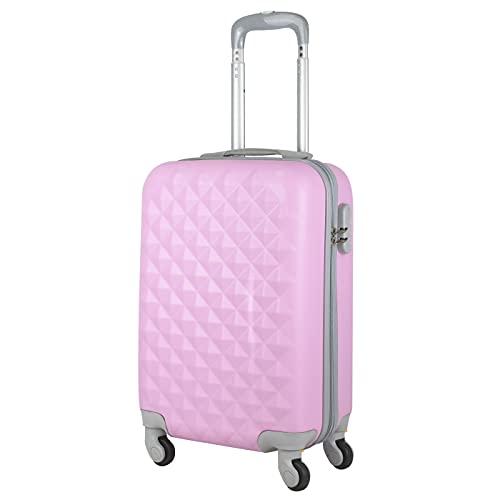 MERCURY TEXTIL - Maleta pequeña para Cabina rígida 4 Ruedas 360º Gira Equipaje de Mano Low Cost (Pink)