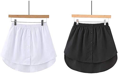Hemdverlängerung Minirock für Damen, Übergröße, verstellbar, Oberteil, Unterrock, Halblang, Spaltversion, für Pullover, Sweatshirt, Jacke, Mantel, Schwarz + Weiß, 3XL