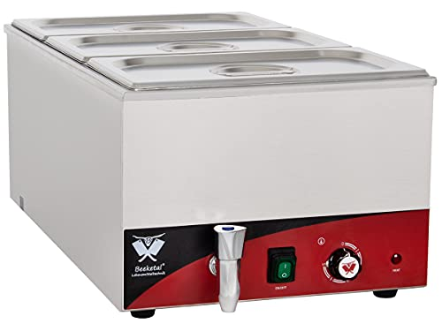 Beeketal \'BBM-3\' Gastronorm Bain Marie mit Ablaufhahn, Profi Gastro Speisewärmer inkl. 3 x (GN) 1/3 Edelstahl Gastronorm Behälter mit Deckel, Wasserbad Temperatur einstellbar von 35-65 °C