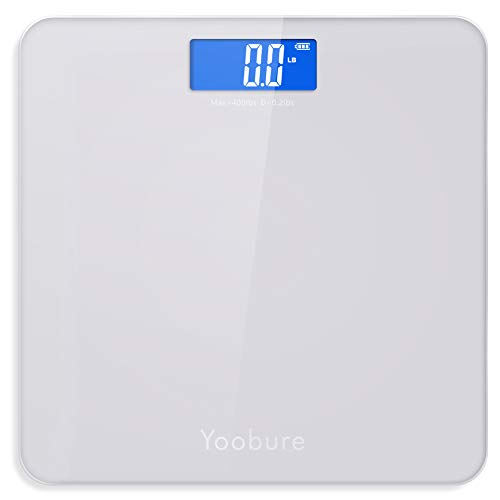 Weight Scale, Precision Digital Body Bathroom Scale with Step-On Technology, 6mm Tempered Glass Easy Read Backlit LCD Display, 400 Pounds