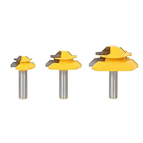 """Nxtop Miter 45 Degree Glue Joint Router Bits Router Bit Set 1/2"""" Shank CNC, end Mill, milling Tools 3Pcs"""