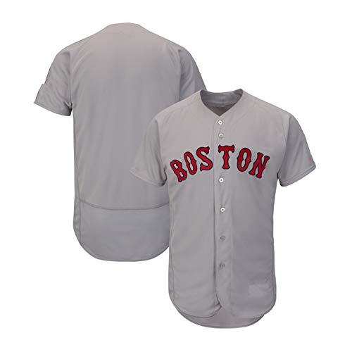 QWG 2020 Jersey de béisbol en Blanco, Red Sox Unisex Uniformes Uniform Uniform Fan Jersey Camisa Bordada Botón Cardigan Top Juego Uniforme de Equipo (S-3XL) Grey-M