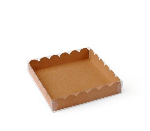 Selfpackaging Caja para Galletas o Macarons con Tapa Transparente y Base en Color Kraft. Pack de 50 Unidades - XS